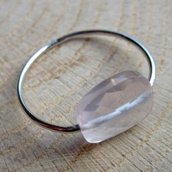 Zilveren ring rozekwarts