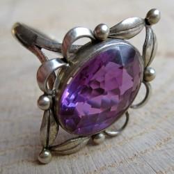 Zilveren ring amethyst glas