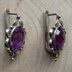 Zilveren oorhangers amethyst glas