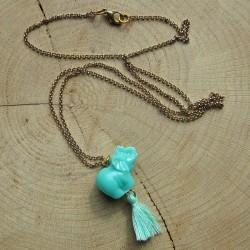 Halsketting turquoisekleurig olifantje kwastje