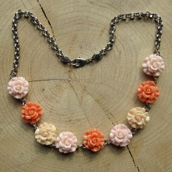 Jasseron halsketting resin roosjes